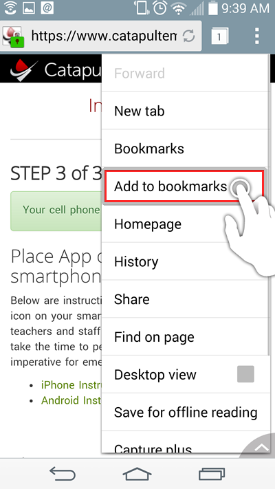 Tap on 'Add to bookmarks.'